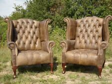 Pair Of Chesterfield Queen Anne Wingback Chairs In Vintage Brown Leather