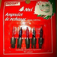 Lot 5 ampoules rechange 8V multicolores pour guirlandes de Noël 30 lampes NEUVES