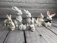 Vintage White Bunny Rabbit Figurine Easter Spring LOT of 9