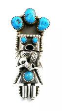 Native American Sterling Silver Navajo Handmade Katchina Turquoise Ring SZ: 7.75