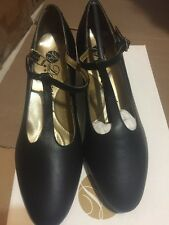 "Capezio Dancesport Ballroom Classic T-Strap shoe BR05 1.5"" cuban heel Black 5M"