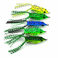 5PCS Large Frog Topwater Soft Fishing Lure Crankbait Hooks Bass Bait Tackle KY