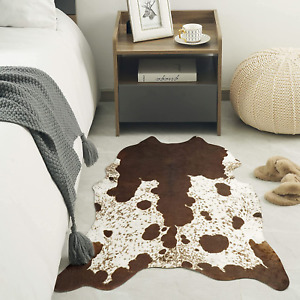 Quenlife Faux Cowhide Rug Cute Cow Print Rug for Bedroom, Non-Slip Cow Hide Carp