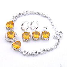 Round Cut Gorgeous Shiny Gold Citrine Gems Silver Bracelet Pendant Earrings Set
