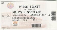 Wales v Scotland 15 Mar 2014  Cardiff RUGBY TICKET