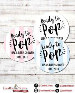Ready To Pop® Round Personalized Baby Shower Sticker Labels   Pink, Blue, White