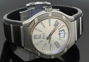 Piaget Polo 45 Titanium automatic men's watch w/ date exhibition back box/papers