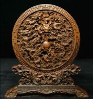 """7"""" Chinese Boxwood Hand-Carved Nine Dragon Loong Wealth Feng shui Folding Screen"""