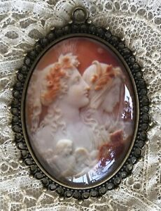 2 WOMEN CAMEO Glass Dome PENDANT NECKLACE Vintage Victorian Goddess Jewelry Art
