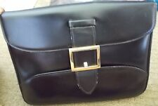 Vintage Jean Patou Black Box Calf Leather Clutch Purse Made in France