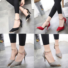 Womens Ladies Stiletto High Heel Ankle Strap Evening Court Shoes Sandals Size UK