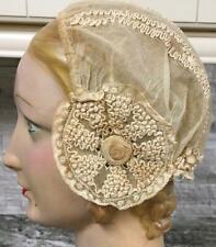 Antique brussels lace Boudoir woman's sleeping night cap hat bonnet bridal