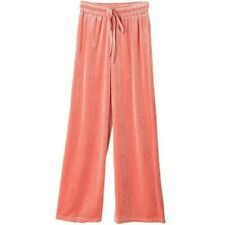 Women Velvet Palazzo Trousers Pants Wide Legs High Waist Drawstring Elegant Long
