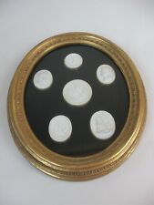 1of2 Plaster Intaglio Medallions Cameo Gold Frame Italy French Grand Tour Style