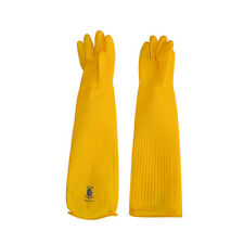 """Bosaeng Industrial Heavy Duty Natural Rubber Latex Gloves 26"""" Yellow"""
