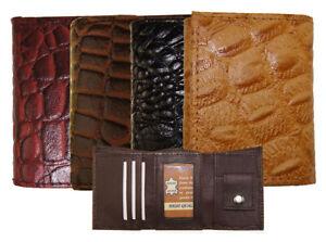 KIDS TriFold Mini Wallet, Leather Alligator Imprint, 1 ID, 2 Bill, 1 Change Slot