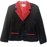Vintage Miss Pendleton Women Size 10 Red Black Structured Wool Blazer Jacket