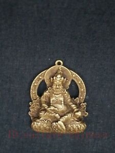 Collection Ancient Chinese Tibet Copper Carving Buddha Statue Amulet Pendant