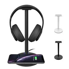 Aluminum Desktop Headset Headphone Stand with Wireless Charging for Phone
