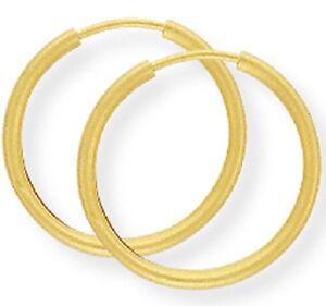 New Ladies 9ct Yellow Gold Sleeper Hoop Earrings 18mm Hallmarked (h)