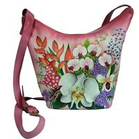 New Hand Painted Leather Shoulder Sling Bag Design Floral Fuschia