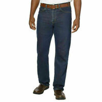 New Men's Kirkland Signature Jeans Relaxed Fit Blue Dark Wash 100% Cotton Work