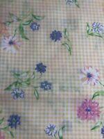 "3-Yards VTG General Fabrics Cotton Orange/Yellow Check Spring Flowers 45"" Wide"