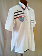 Women's NAPA Valley Button Front Blouse White Emboidered Floral Patchwork Small