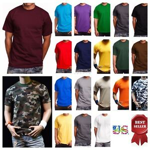 Big And Tall Men's T-Shirt HEAVY WEIGHT Crew Neck Plain Sports Active Gym S-7X