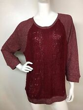 Lucky Brand Women's New Biking Red Sweater Front Pullover Sweatshirt Top L NWT