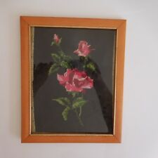 Tapisserie canvas tapestry handmade Roses fait main art déco XXe PN France