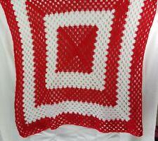 Crochet Afghan Small Lap Blanket Chair Throw 44x45 Red and White Handmade