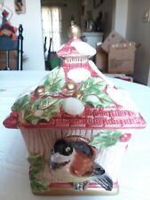 Fitz & Floyd Chickadee Bird House Lidded Holiday Treasure Box 1998