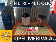 KIT TAGLIANDO 4 FILTRI + 4 LITRI OLIO OPEL MERIVA A 1.3 CDTI MULTIJET DIESEL