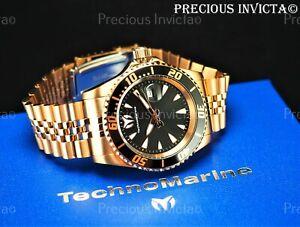 ➤TechnoMarine Men's 42mm MANTA SEA JUBILEE Rose Tone Black Dial Bracelet Watch