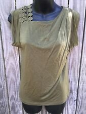 COUNTRY ROAD Green/Khaki Blouse Shoulder Lace Trim Lyocell Top Size XXS