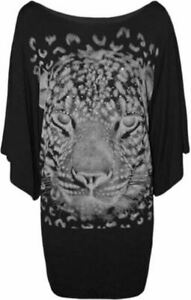 Ladies Plus Size Sequin Tiger Animal Print Batwing Tops Baggy Tunic Top 14-28