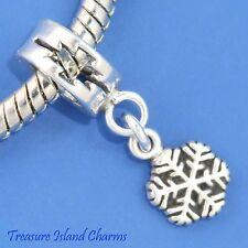 SNOWFLAKE .925 Sterling Silver EUROPEAN Dangle Charm Bead SNOW WINTER CHRISTMAS