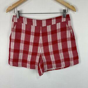 Bardot Womens Shorts Size 10 Red Plaid Zip Closure High Rise Linen Blend 41.29