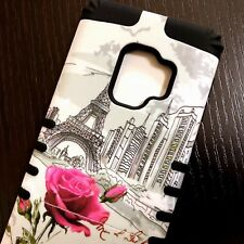 For Samsung Galaxy S9 - Hard Hybrid Armor Case Cover Paris Eiffel Tower Flowers