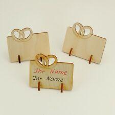 6er Set Tischkarten mit Eheringen Holz Platzkarte Hochzeit Trauung Sonderpreis
