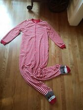 Nick And Nora Footie Pajamas Adult Medium Sock Monkey Footed Striped pockets zip