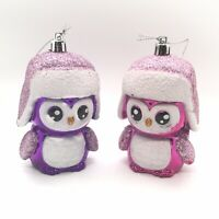 "Colorful Christmas Ornaments (Set Of 2) Pink & Purple Birds 4"" w/ Glittery Hats"