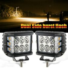 2x 4Inch Dual output Chase lights 4 modes strobe module Amber and White Offroad