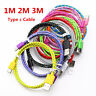 3/6/10ft Braided USB-C 3.1 Type C Male to USB 2.0 A Male Charger Sync Data Cable