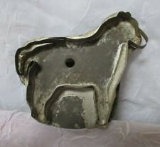 Antique Vintage Tin Soldered Flatback With Handle Horse Shape Cookie Cutter