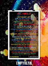 Radiohead ALL I NEED In Rainbows Thom Yorke Lyric Poster Art Print