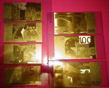 24 KARAT GOLD 2002 EURO- LOT OF 7 -European Union € NOTES-IN  RIGID PVC HOLDER