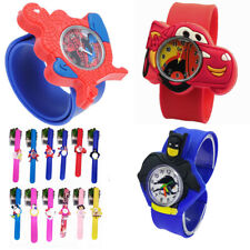 Kids Boys Girls Childrens Super Hero Snap On Slap Watch Quartz Analogue Watches