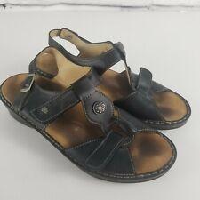 Finn Comfort Womens Size 6.5  Ankle Strap Sandals Black Leather Boho